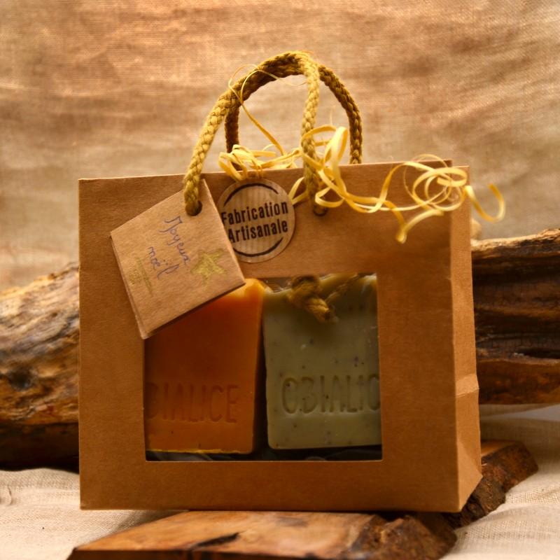 Coffret cadeau spécial noël composé de 3 savons naturels - Obialice savonnerie artisanale hérault
