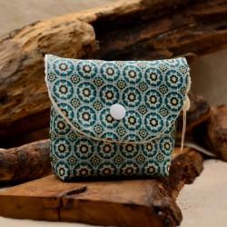 Pochette savon surgras en coton enduit imprimé bleu : Obialice savonnerie Montpellier